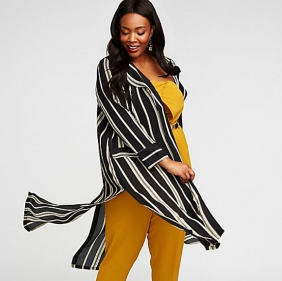 ec372f5eb3f47 Plus Size Striped Longline Kimono